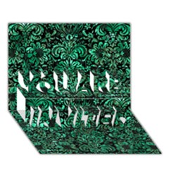 Damask2 Black Marble & Green Marble (r) You Are Invited 3d Greeting Card (7x5) by trendistuff