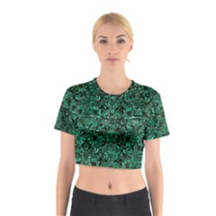 Damask2 Black Marble & Green Marble (r) Cotton Crop Top