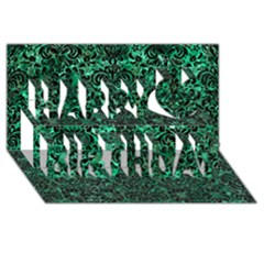 Damask2 Black Marble & Green Marble Happy Birthday 3d Greeting Card (8x4) by trendistuff