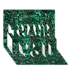 Damask2 Black Marble & Green Marble Thank You 3d Greeting Card (7x5) by trendistuff