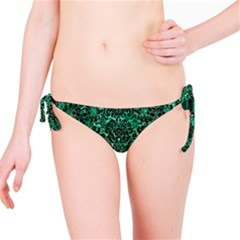 Damask2 Black Marble & Green Marble Bikini Bottom by trendistuff