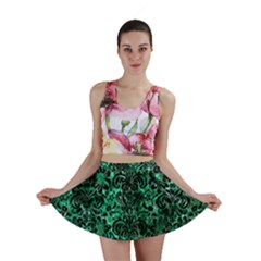 Damask2 Black Marble & Green Marble Mini Skirt by trendistuff