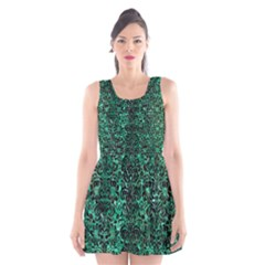 Damask2 Black Marble & Green Marble Scoop Neck Skater Dress by trendistuff