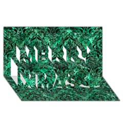 Damask1 Black Marble & Green Marble (r) Merry Xmas 3d Greeting Card (8x4) by trendistuff