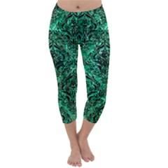 Damask1 Black Marble & Green Marble (r) Capri Winter Leggings  by trendistuff