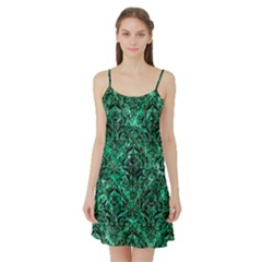Damask1 Black Marble & Green Marble (r) Satin Night Slip by trendistuff
