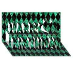 Diamond1 Black Marble & Green Marble Happy Birthday 3d Greeting Card (8x4) by trendistuff