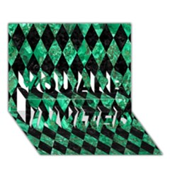 Diamond1 Black Marble & Green Marble You Are Invited 3d Greeting Card (7x5) by trendistuff