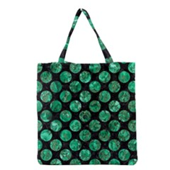 Circles2 Black Marble & Green Marble (r) Grocery Tote Bag by trendistuff