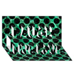 Circles2 Black Marble & Green Marble Laugh Live Love 3d Greeting Card (8x4) by trendistuff