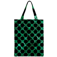 Circles2 Black Marble & Green Marble Zipper Classic Tote Bag by trendistuff