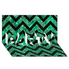 Chevron9 Black Marble & Green Marble (r) Party 3d Greeting Card (8x4)