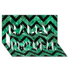 Chevron9 Black Marble & Green Marble (r) Happy New Year 3d Greeting Card (8x4) by trendistuff
