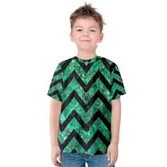 Chevron9 Black Marble & Green Marble (r) Kids  Cotton Tee