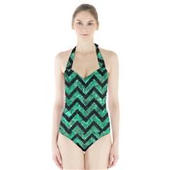 Chevron9 Black Marble & Green Marble (r) Halter Swimsuit by trendistuff