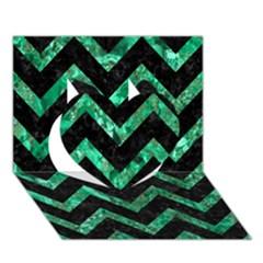 Chevron9 Black Marble & Green Marble Heart 3d Greeting Card (7x5)