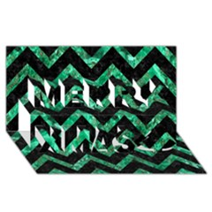 Chevron9 Black Marble & Green Marble Merry Xmas 3d Greeting Card (8x4)