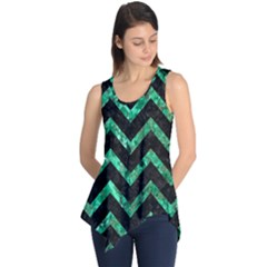 Chevron9 Black Marble & Green Marble Sleeveless Tunic