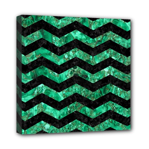 Chevron3 Black Marble & Green Marble Mini Canvas 8  X 8  (stretched) by trendistuff