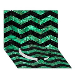 Chevron3 Black Marble & Green Marble Circle Bottom 3d Greeting Card (7x5)