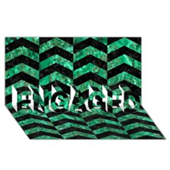 Chevron2 Black Marble & Green Marble Engaged 3d Greeting Card (8x4)