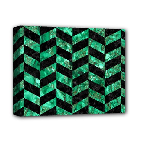 Chevron1 Black Marble & Green Marble Deluxe Canvas 14  X 11  (stretched) by trendistuff