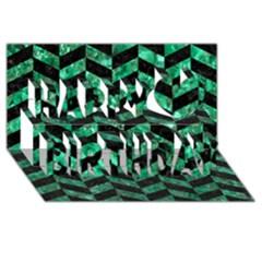 Chevron1 Black Marble & Green Marble Happy Birthday 3d Greeting Card (8x4)