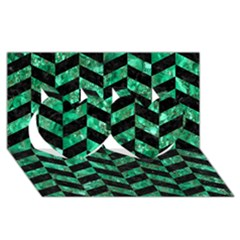Chevron1 Black Marble & Green Marble Twin Hearts 3d Greeting Card (8x4)