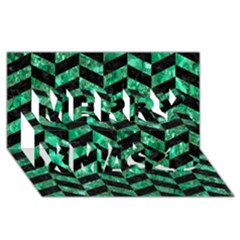 Chevron1 Black Marble & Green Marble Merry Xmas 3d Greeting Card (8x4) by trendistuff