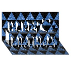 Triangle3 Black Marble & Blue Marble Happy Birthday 3d Greeting Card (8x4)