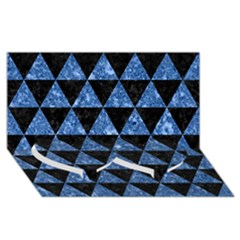 Triangle3 Black Marble & Blue Marble Twin Heart Bottom 3d Greeting Card (8x4) by trendistuff