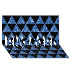 Triangle3 Black Marble & Blue Marble Engaged 3d Greeting Card (8x4)
