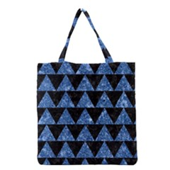 Triangle2 Black Marble & Blue Marble Grocery Tote Bag