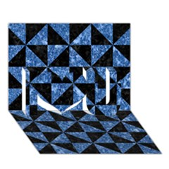 Triangle1 Black Marble & Blue Marble I Love You 3d Greeting Card (7x5)