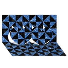 Triangle1 Black Marble & Blue Marble Twin Hearts 3d Greeting Card (8x4)