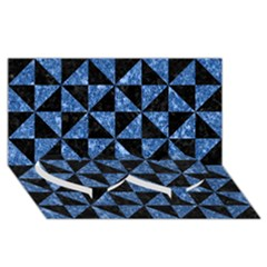 Triangle1 Black Marble & Blue Marble Twin Heart Bottom 3d Greeting Card (8x4) by trendistuff
