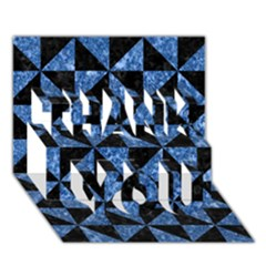 Triangle1 Black Marble & Blue Marble Thank You 3d Greeting Card (7x5) by trendistuff