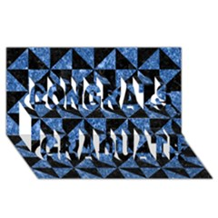 Triangle1 Black Marble & Blue Marble Congrats Graduate 3d Greeting Card (8x4)