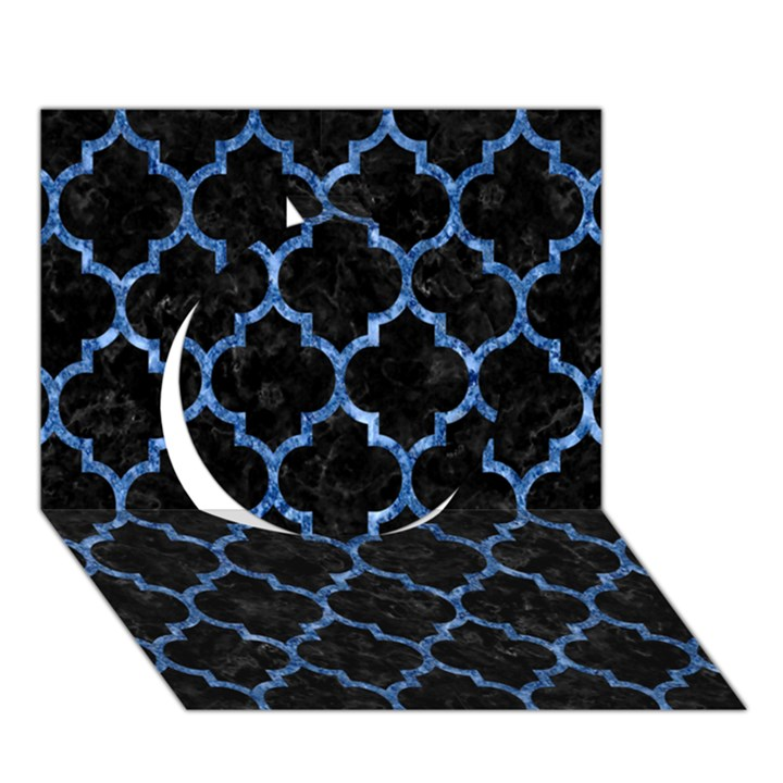 TILE1 BLACK MARBLE & BLUE MARBLE (R) Circle 3D Greeting Card (7x5)