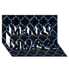 Tile1 Black Marble & Blue Marble (r) Merry Xmas 3d Greeting Card (8x4)