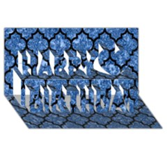 Tile1 Black Marble & Blue Marble Happy Birthday 3d Greeting Card (8x4)