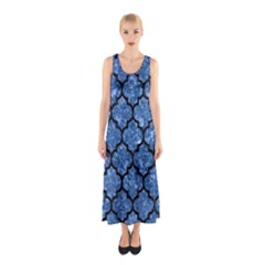 Tile1 Black Marble & Blue Marble Sleeveless Maxi Dress by trendistuff