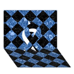 Square2 Black Marble & Blue Marble Ribbon 3d Greeting Card (7x5)