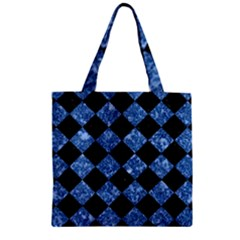 Square2 Black Marble & Blue Marble Zipper Grocery Tote Bag by trendistuff