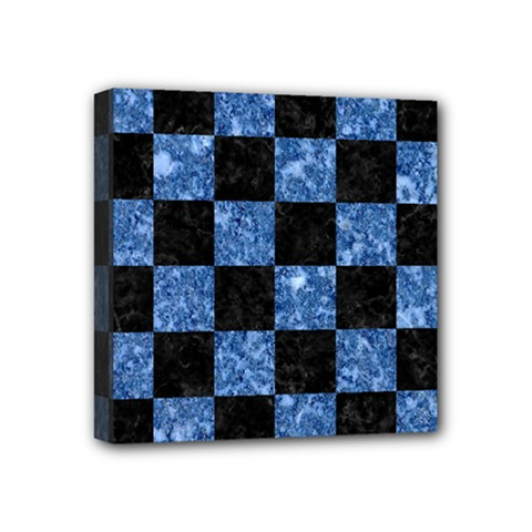 Square1 Black Marble & Blue Marble Mini Canvas 4  X 4  (stretched) by trendistuff