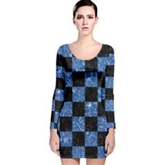 Square1 Black Marble & Blue Marble Long Sleeve Velvet Bodycon Dress