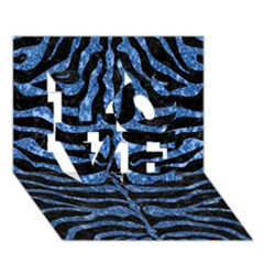 Skin2 Black Marble & Blue Marble (r) Love 3d Greeting Card (7x5) by trendistuff