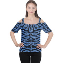 Skin2 Black Marble & Blue Marble Cutout Shoulder Tee by trendistuff