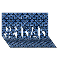 Scales3 Black Marble & Blue Marble #1 Dad 3d Greeting Card (8x4)