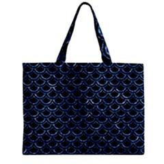 Scales2 Black Marble & Blue Marble (r) Zipper Mini Tote Bag by trendistuff
